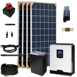 Kit 075 -Off-Grid PV solar kit, 3kW 24V, 3,9kW/day, permanent housing