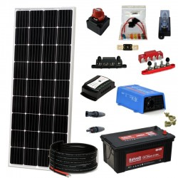 Kit 070 - Isolierte Verbindung Solar Kit 300W 12V, 825W/Tag, Beleuchtung, Wochenende-Sommer