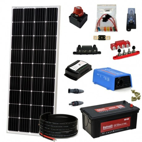 Kit 070 - Off-Grid lighting PV solar kit, 300W 12V, 825W/day, weekend - Summer