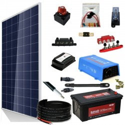 Kit 071 - Off-Grid Solar PV solar kit 400W 24V, 1550W/Day, weekend - Summer
