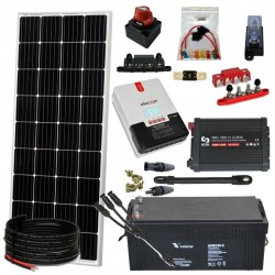 Kit 073 - Off-Grid PV Solar Kit 1500W 12V, 2, 5kw/day, weekend - Summer