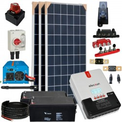 Kit 074 - Off-Grid PV solar kit 960W 24V, 4,95kW/day, weekend-summer