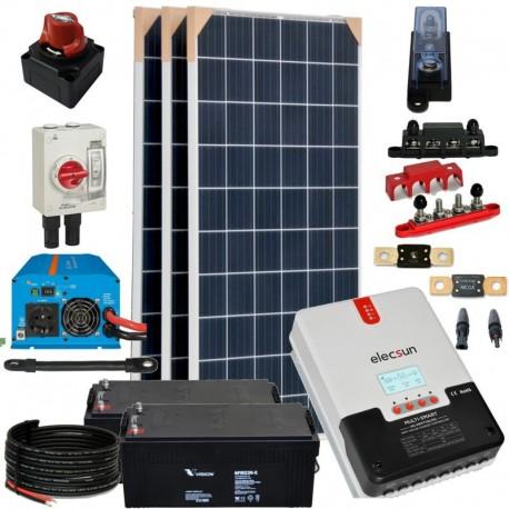 Kit 074 - Off-Grid PV solar kit 960W 24V, 4,95kW/day, weekend-summer