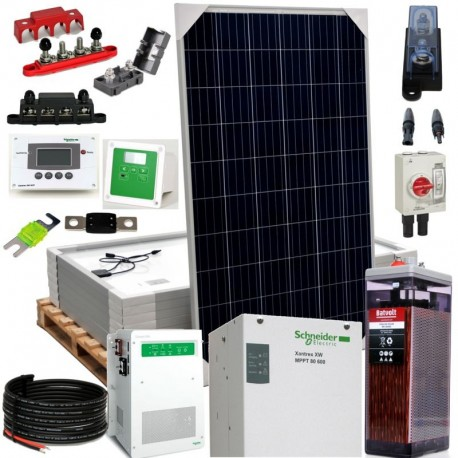 Kit 079 - Off-Grid PV solar kit, 3, 4kW 24V, 13,75kW/day, permanent housing