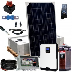 Kit 080 – Off-Grid PV solar kit 5kW 48V, 11,7 kW/Day, permanent housing