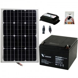 Kit 068 - Off-Grid lighting PV solar kit 100W 12V, 100W/Day, weekend-Summer